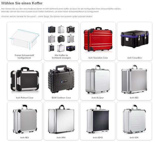 Koffer-Schaumstoff-Konfigurator - Auswahlschirm