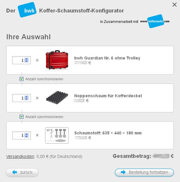 Koffer-Schaumstoff-Konfigurator - Bestellung