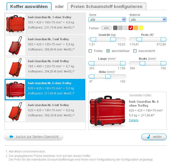 Koffer-Schaumstoff-Konfigurator - Koffer auswählen