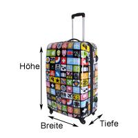 Höhe, Breite und Tiefe bei einem Koffer