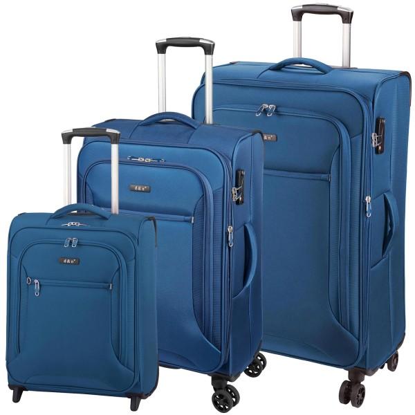 d&n Travel Line 6404 Trolley-Set 3-teilig 4 Rollen blau