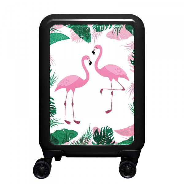 meinTrolley Flamingos 55cm 4 Rollen schwarz
