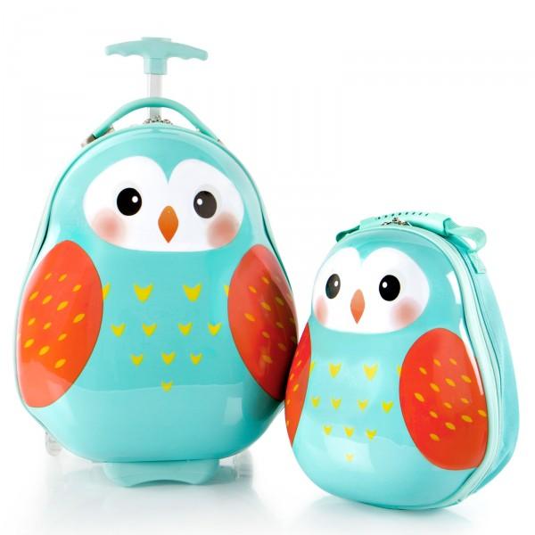 Heys Kids Travel Tots Kindertrolley 46 cm 2 Rollen mit Rucksack Owl Frontansicht