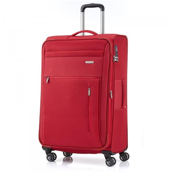 travelite Capri Trolley 76 cm 4 Rollen erweiterbar rot Schrägansicht