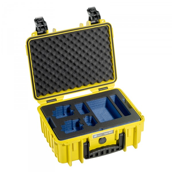 B&W GoPro Case Typ 3000 gelb mit Schaumstoffeinsatz für GoPro HERO4 - Frontansicht
