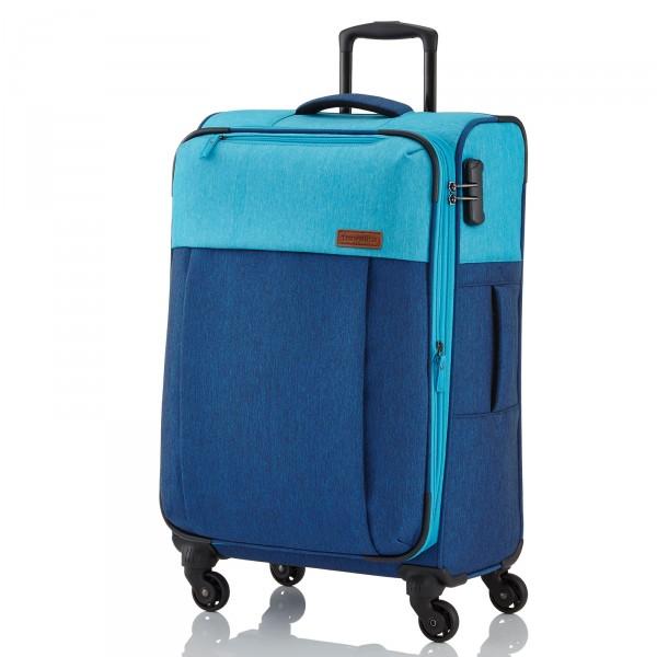 travelite Neopak Trolley 77 cm 4 Rollen erweiterbar marine/blau Schrägansicht