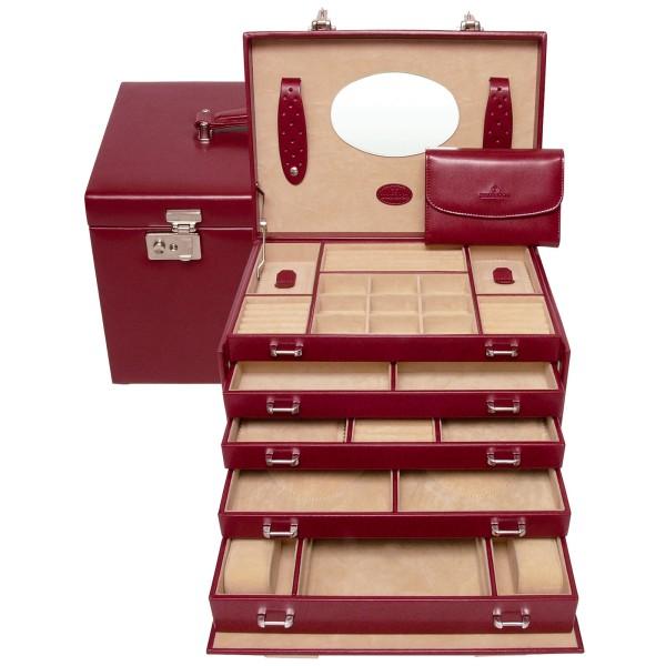 Windrose Merino Schmuckkoffer aus Feinsynthetik mit Schmucktasche rot