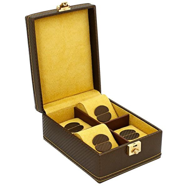 Friedrich|23 Carbon Uhrenkoffer klein aus Feinsynthetik für 4 Uhren