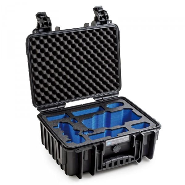 B&W Copter Case Typ 3000 für DJI Mavoc Pro schwarz - Schrägansicht geöffnet leer