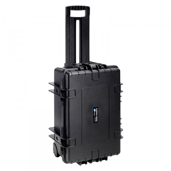 B&W Outdoor Case Typ 6700 schwarz 2 Rollen - Vorderansicht
