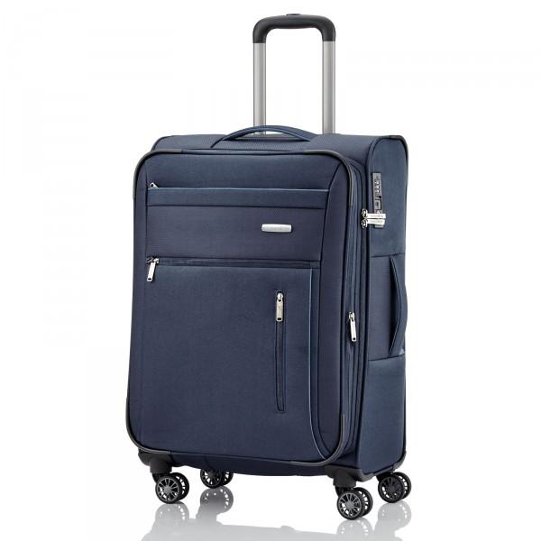 travelite Capri Trolley 66 cm 4 Rollen erweiterbar blau - Frontansicht