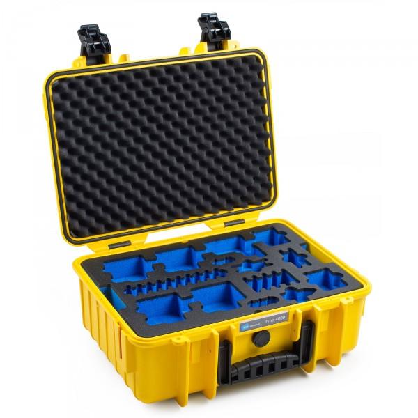 B&W GoPro Case Typ 4000 in gelb für GoPro Hero 5 Front