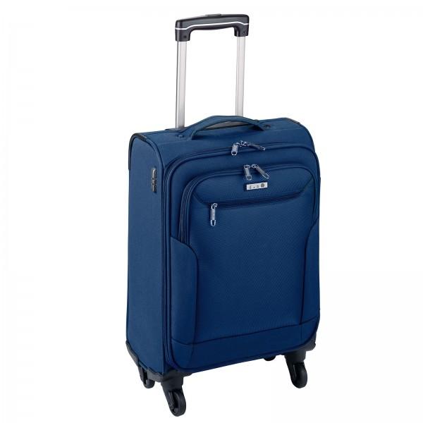 d&n Travel Line 6804 Kabinentrolley 55 cm 4 Rollen blau Frontansicht