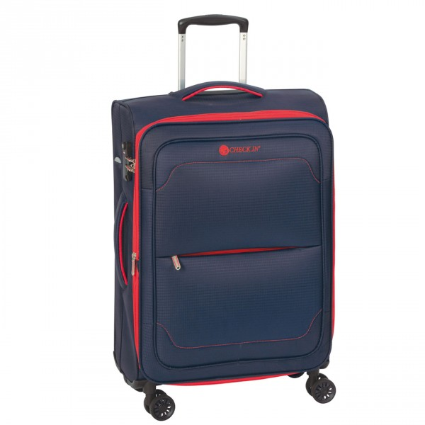 CHECK.IN Monaco Trolley 77 cm 4 Rollen erweiterbar blue/grey Front
