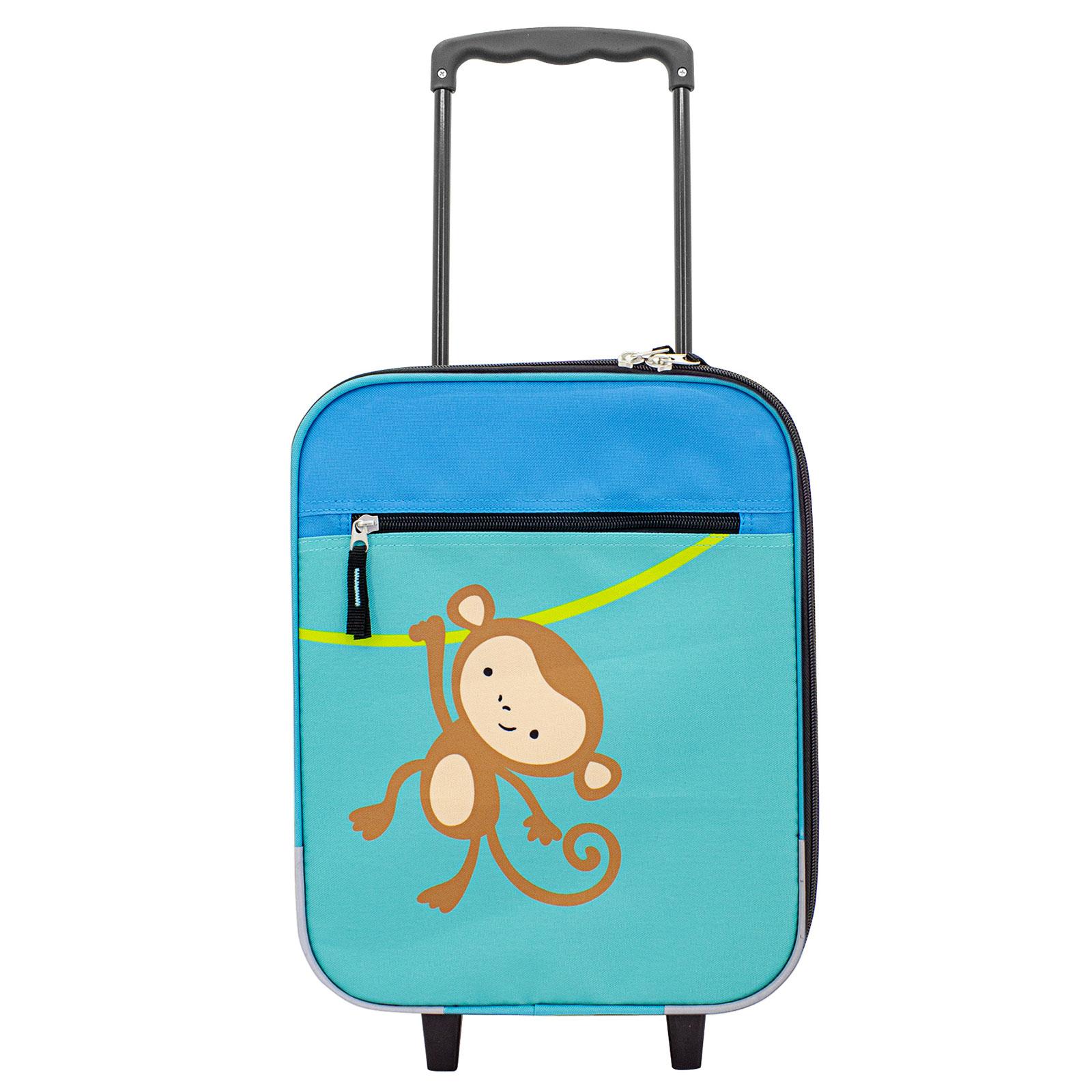 Koffer F23 Jungen Kinderkoffer Affe 43 cm 2 Rollen, Blau