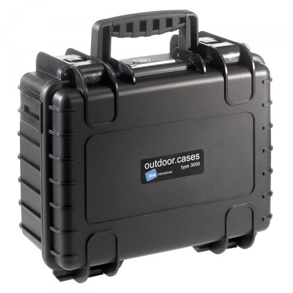 B&W Outdoor Case Typ 3000 schwarz - Vorderansicht