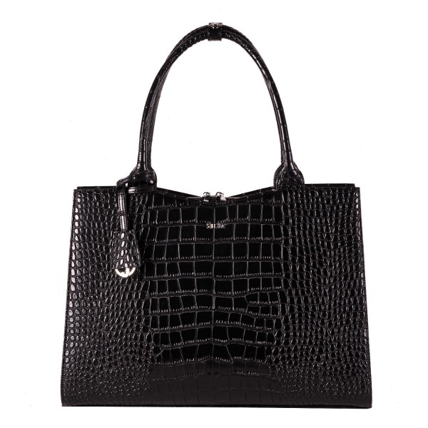 SOCHA Business-Handtasche Crocodile 44 cm black Frontansicht