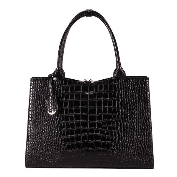 SOCHA Business-Handtasche Crocodile 41 cm black Frontansicht