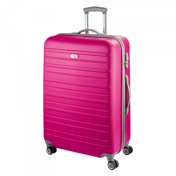 d&n Travel Line 9400 Trolley 76 cm 4 Rollen pink - Frontansicht