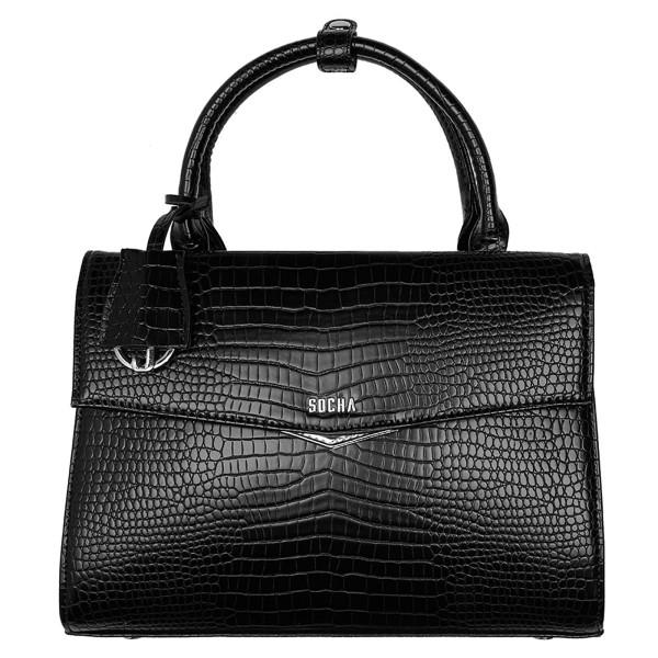 SOCHA Tiny Tip Business-Handtasche 30 cm croco black