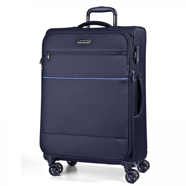 March15 Easy Trolley 78 cm 4 Rollen erweiterbar navy Frontansicht