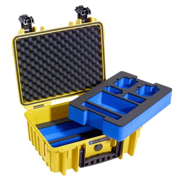 B&W GoPro Case Typ 3000 gelb mit Schaumstoffeinsatz für GoPro HERO3 - Frontansicht