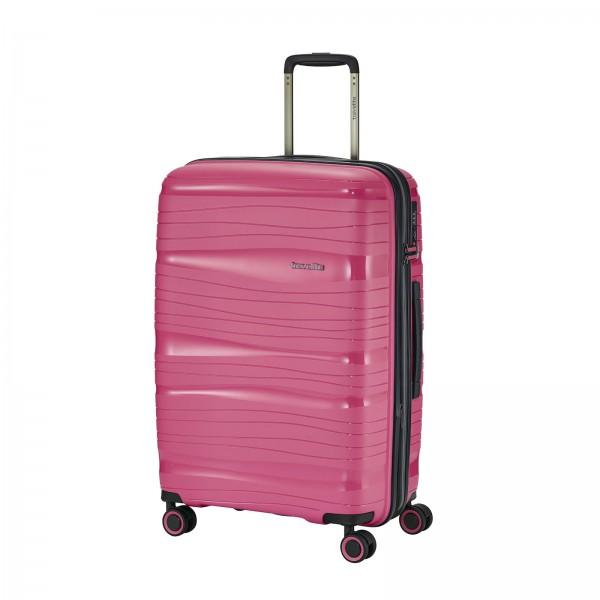 travelite Motion Trolley 67 cm 4 Rollen erweiterbar bonbon Schrägansicht