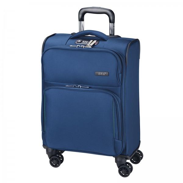d&n Travel Line 7904 Kabinentrolley 54 cm 4 Rollen blau Frontansicht