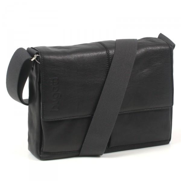 Bugatti John D. Messenger Bag 32 cm schwarz - Vorderansicht mit Gurt