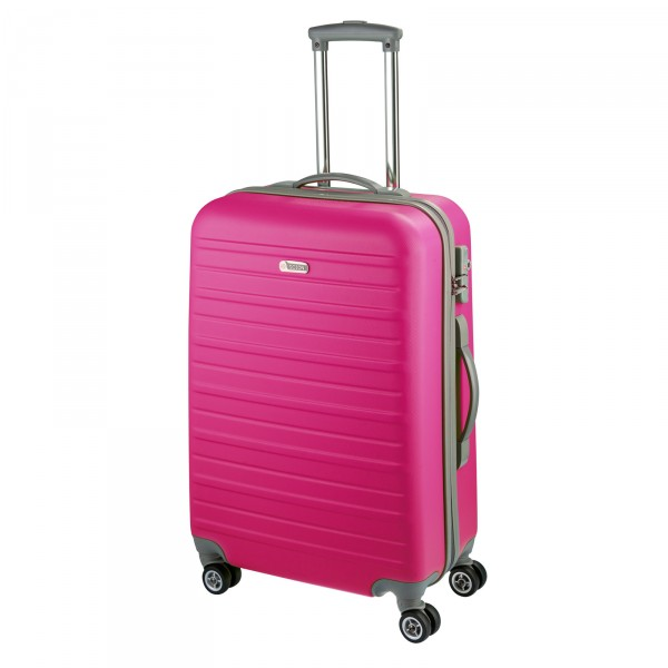 d&n Travel Line 9400 Trolley 66 cm 4 Rollen pink - Frontansicht