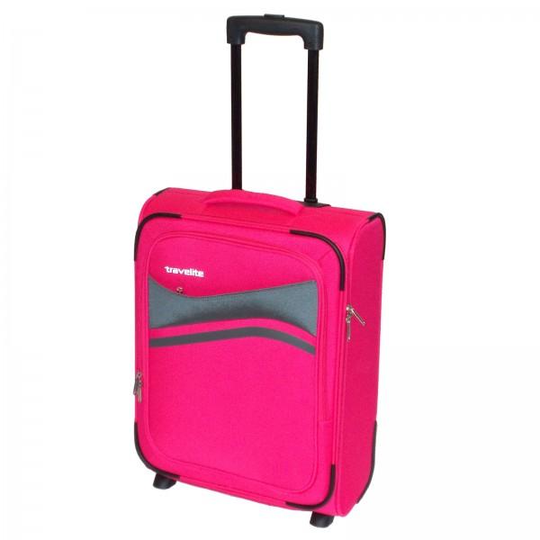 travelite Wave Kabinentrolley 53 cm 2 Rollen pink Schrägansicht