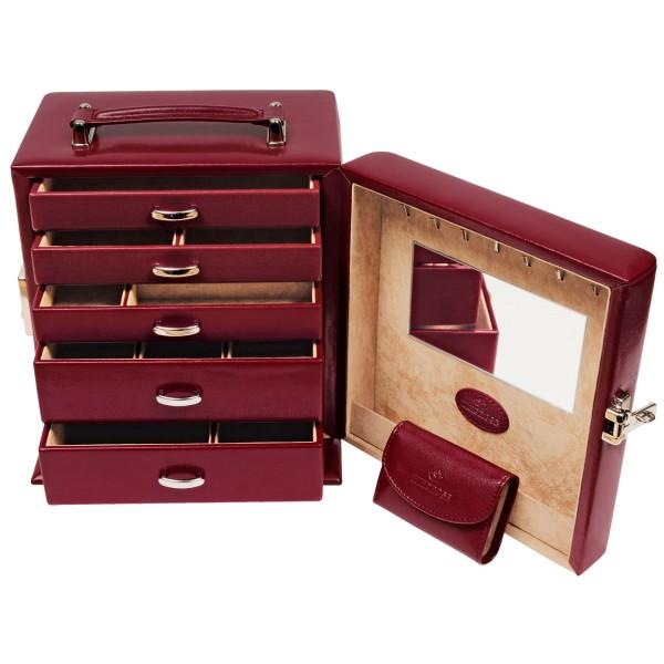 Windrose Merino Schmuckkoffer aus Feinsynthetik mit Schmucktasche hoch rot