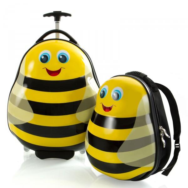 Heys Kids Travel Tots Kindertrolley 46 cm 2 Rollen mit Rucksack Bumble Bee Frontansicht