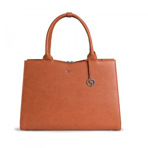 SOCHA Business-Handtasche Straight Line 44 cm Cognac Frontansicht