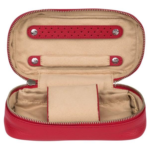 Windrose Soft Uhrenetui aus Leder rot