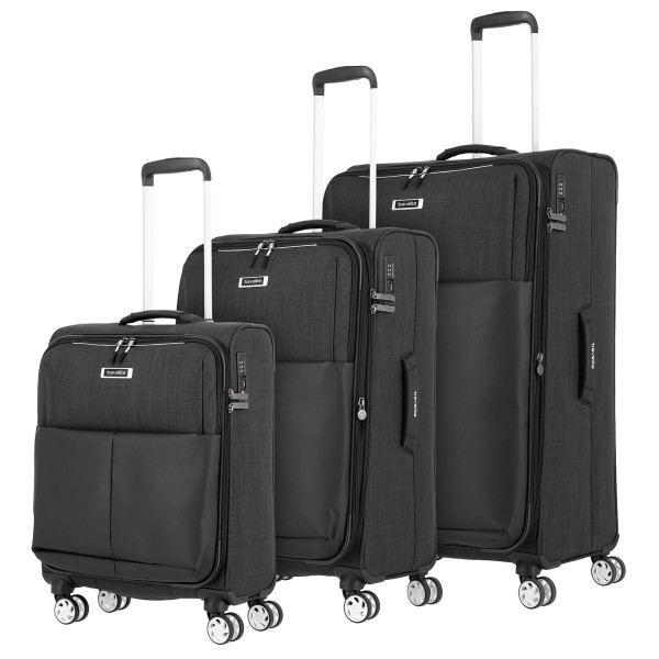 travelite Proof Trolley Set 55/68/78 cm 4 Rollen schwarz