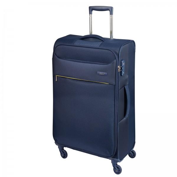d&n Travel Line 6304 Trolley 79 cm 4 Rollen blau Frontansicht