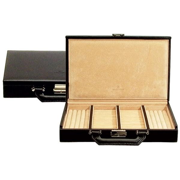 Windrose Ambiance Ringkoffer aus Echtholz mit Leder schwarz