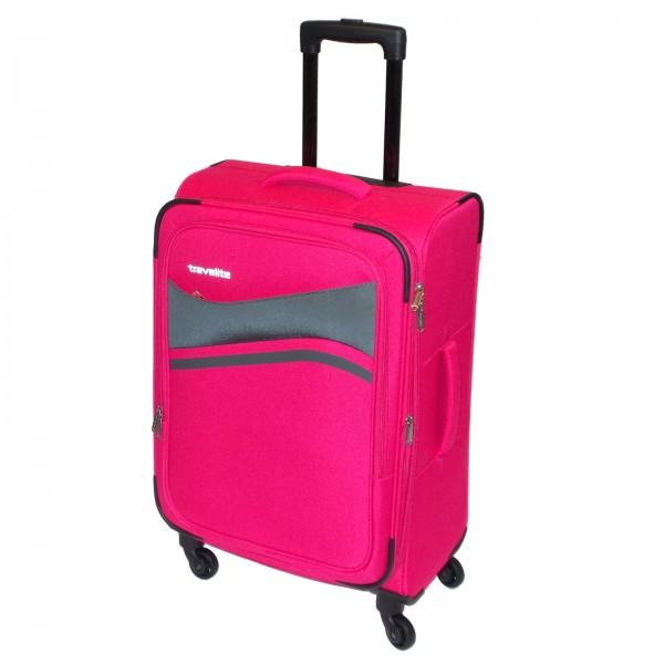 travelite Wave Trolley 65 cm 4 Rollen erweiterbar pink Schrägansicht
