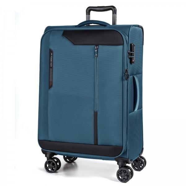March15 Stardust Trolley 78 cm 4 Rollen erweiterbar petrol blue Schrägansicht