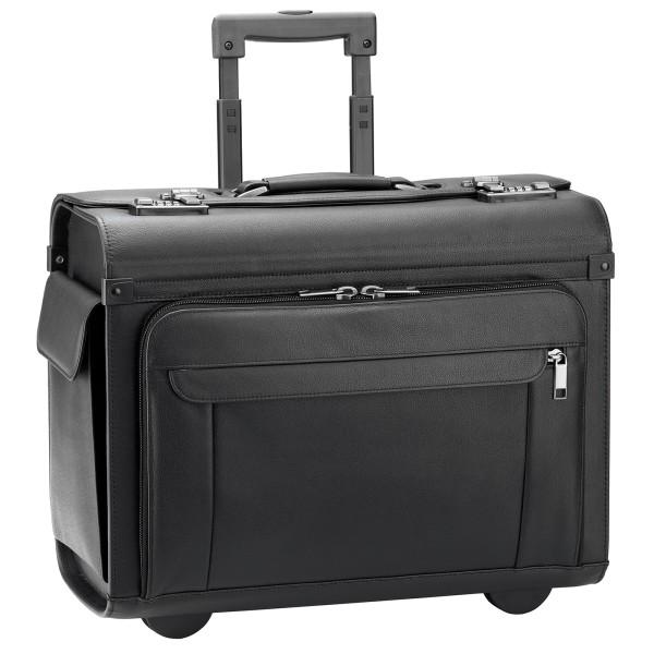d&n Business & Travel Pilotenkoffer aus Leder 46 cm 2 Rollen schwarz