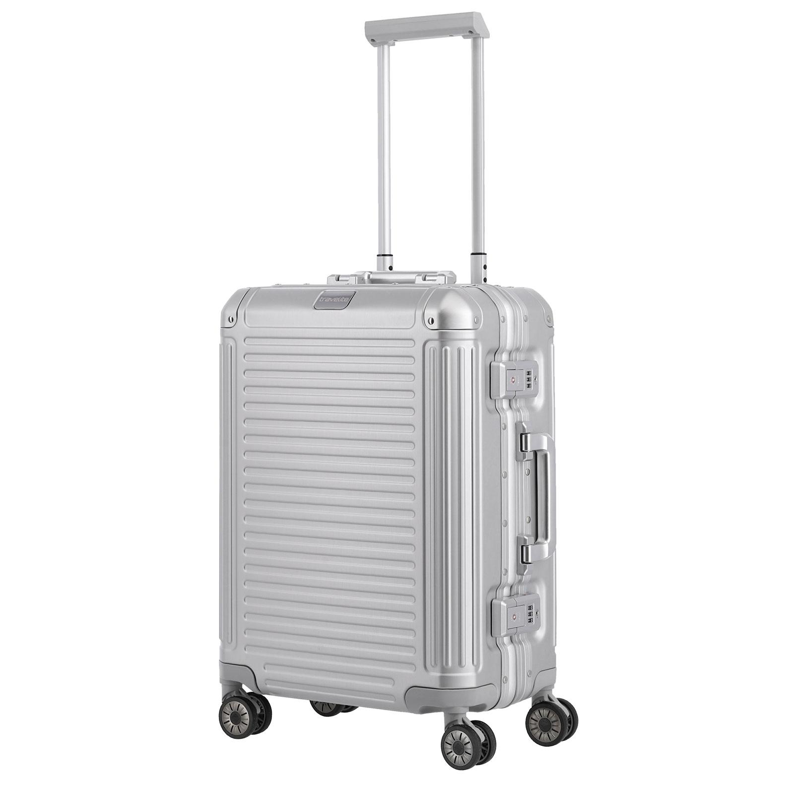 Koffer travelite Next Handgepäck Trolley S, 4 Rollen, 55 cm, 39  L, Silber