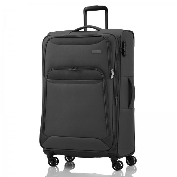 travelite Kendo Trolley 77 cm 4 Rollen erweiterbar schwarz Frontansicht