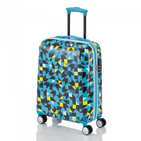 travelite Campus Quadro Kabinentrolley 55 cm 4 Rollen blau Schrägansicht