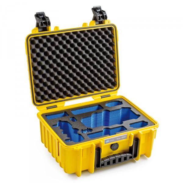 B&W Copter Case Typ 3000 für DJI Mavoc Pro gelb - Schrägansicht geöffnet leer