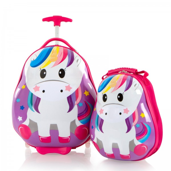 Heys Kids Travel Tots Kindertrolley 46 cm 2 Rollen mit Rucksack Unicorn Frontansicht