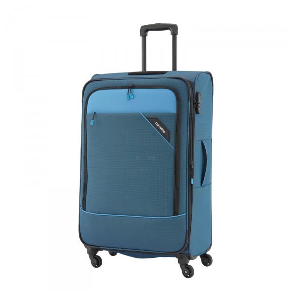 Travelite Derby Modell 2018 Trolley 66 cm 4 Rollen erweiterbar blau Schrägansicht