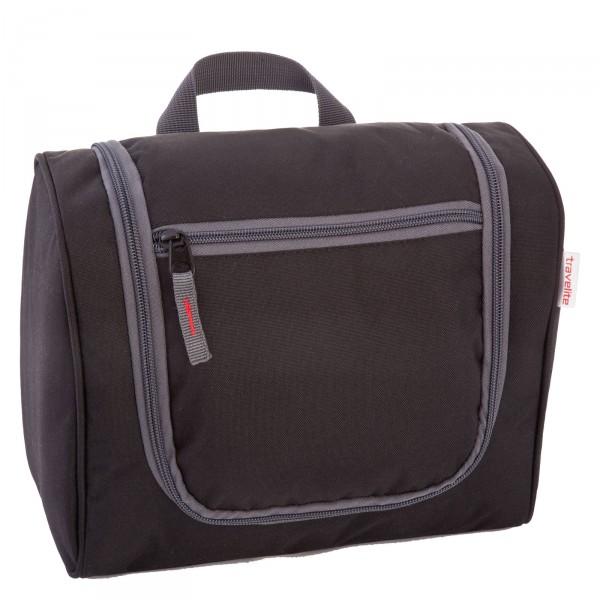 travelite Kulturtasche L 21 cm schwarz Frontansicht