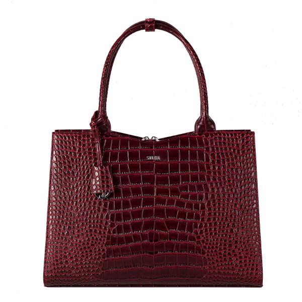 SOCHA Business-Handtasche Crocodile 44 cm burgundy Frontansicht
