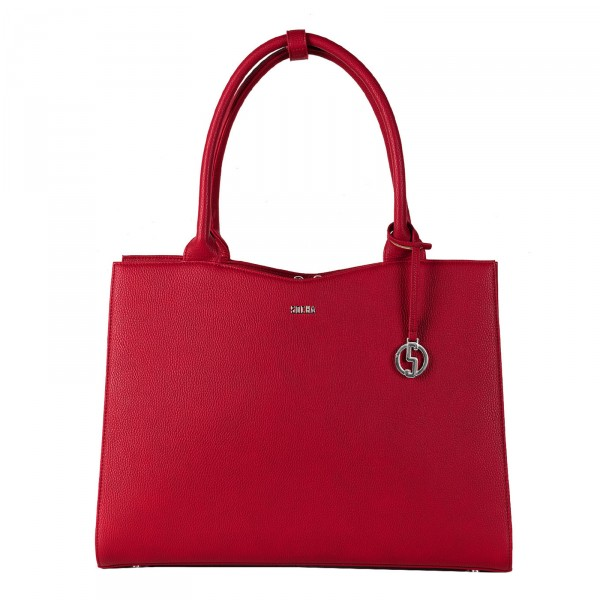 SOCHA Business-Handtasche Straight Line Midi 39 cm cherry red Frontansicht